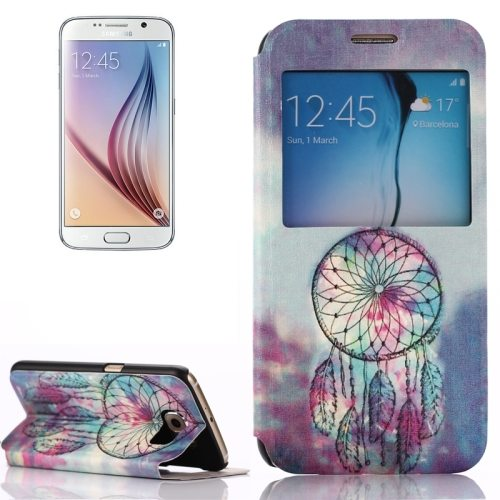 Flip Leather Case for Samsung Galaxy S6 with Holder and Caller ID Window (Wind Chime Pattern)