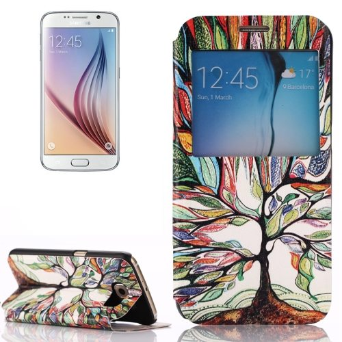 Flip Leather Case for Samsung Galaxy S6 with Holder and Caller ID Window (Colored Tree Pattern)