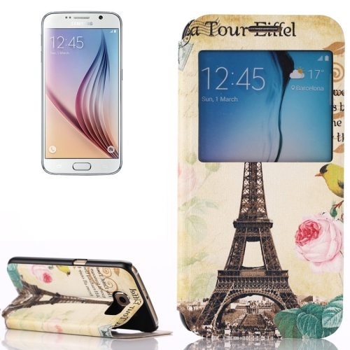 Flip Leather Case for Samsung Galaxy S6 with Holder and Caller ID Window (Eiffel Tower Pattern )