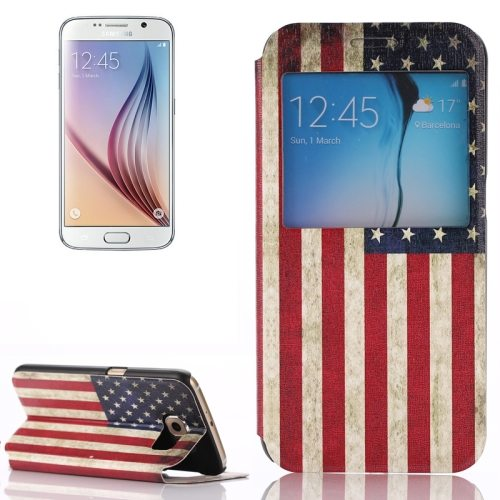 Flip Leather Case for Samsung Galaxy S6 with Holder and Caller ID Window (US Flag Pattern)