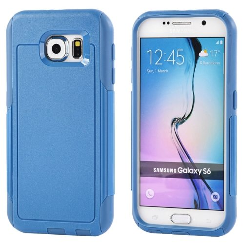 Contrast Color Design TPU and PC Hybrid Protective Case for Samsung Galaxy S6 (Blue)