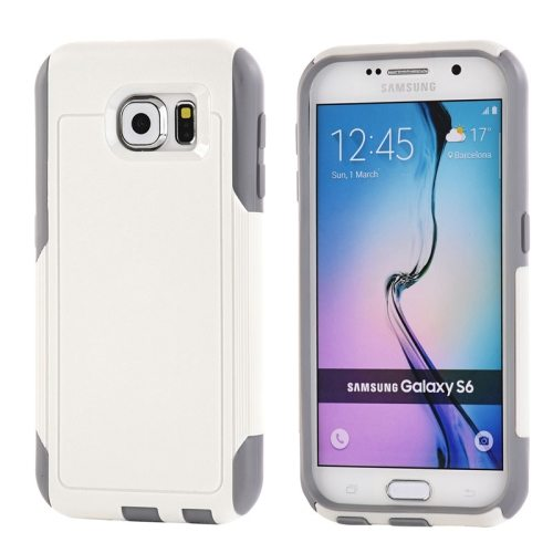 Contrast Color Design TPU and PC Hybrid Protective Case for Samsung Galaxy S6 (White)