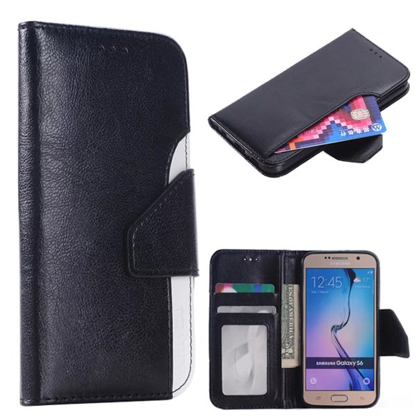 2-Tone Color PU Leather Wallet Mobile Phone Case Cover for Samsung Galaxy S6 (Black+White)