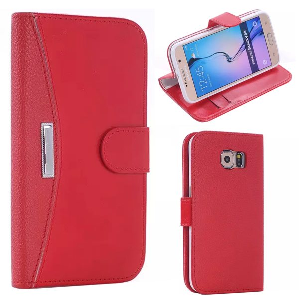 Litchi Texture Flip Leather Case Cover for Samsung Galaxy S6 with Card Slots and Holder (Red)
