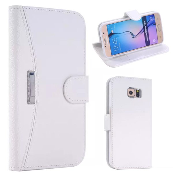 Litchi Texture Flip Leather Case Cover for Samsung Galaxy S6 with Card Slots and Holder (White)