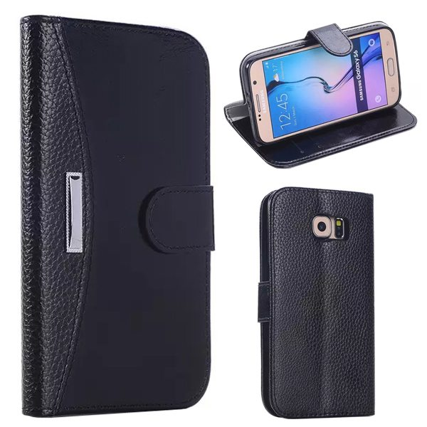 Litchi Texture Flip Leather Case Cover for Samsung Galaxy S6 with Card Slots and Holder (Black)