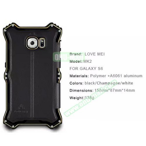 Unique Arc Pattern LOVE MEI MK2 Leather + Polymer + A6061 Aluminum Hybrid Case for Samsung Galaxy S6 (Black)