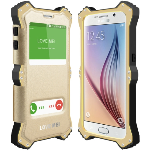 Unique Arc Pattern LOVE MEI MK2 Leather + Polymer + A6061 Aluminum Hybrid Case for Samsung Galaxy S6 (Golden Frame)