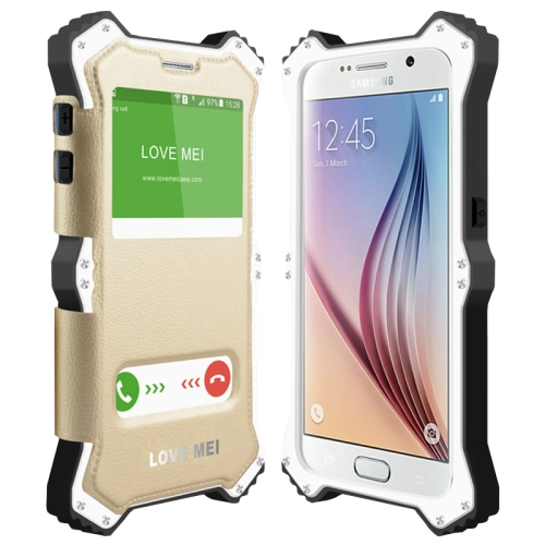 Unique Arc Pattern LOVE MEI MK2 Leather + Polymer + A6061 Aluminum Hybrid Case for Samsung Galaxy S6 (White Frame)