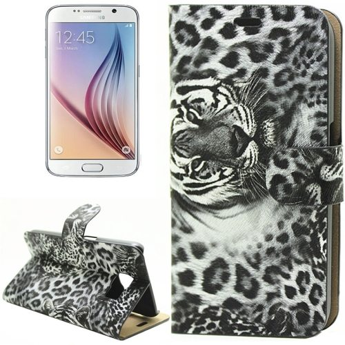 Leopard Texture Flip Leather Wallet Cover Case for Samsung Galaxy S6 (Black)