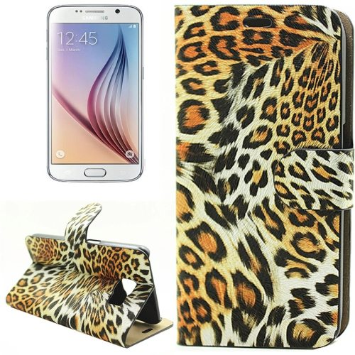 Leopard Texture Flip Leather Wallet Cover Case for Samsung Galaxy S6 (Yellow)