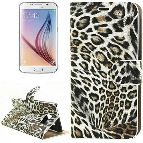 Leopard Texture Flip Leather Wallet Cover Case for Samsung Galaxy S6 (Light Brown)