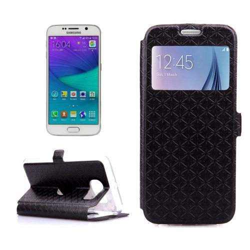 Diamond Pattern Flip Leather Case for Samsung Galaxy S6 with Caller ID Window (Black)