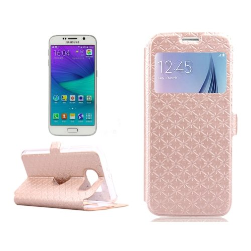 Diamond Pattern Flip Leather Case for Samsung Galaxy S6 with Caller ID Window (Gold)