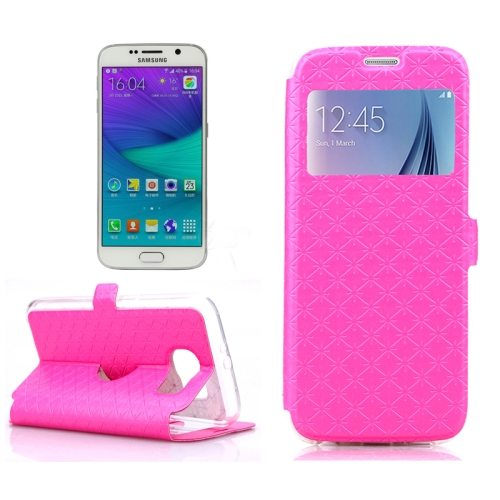 Diamond Pattern Flip Leather Case for Samsung Galaxy S6 with Caller ID Window (Pink)