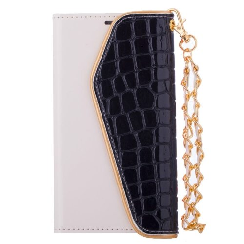 Crocodile Texture Wallet Flip Leather Case for Samsung Galaxy S6 with Chain and Card Slots (Black)