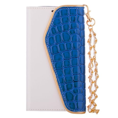 Crocodile Texture Wallet Flip Leather Case for Samsung Galaxy S6 with Chain and Card Slots (Blue)
