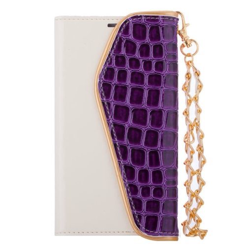 Crocodile Texture Wallet Flip Leather Case for Samsung Galaxy S6 with Chain and Card Slots (Purple)