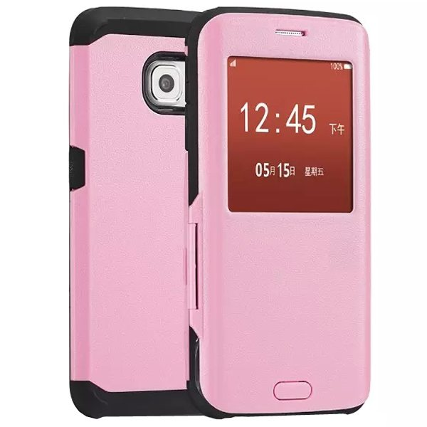 Luxury Design 2 In 1 Pattern Armor TPU and PC Hybrid Case for Samsung Galaxy S6 Edge with Caller ID Display Window (Pink)