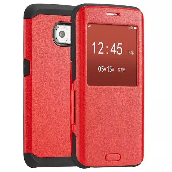 Luxury Design 2 In 1 Pattern Armor TPU and PC Hybrid Case for Samsung Galaxy S6 Edge with Caller ID Display Window (Red)