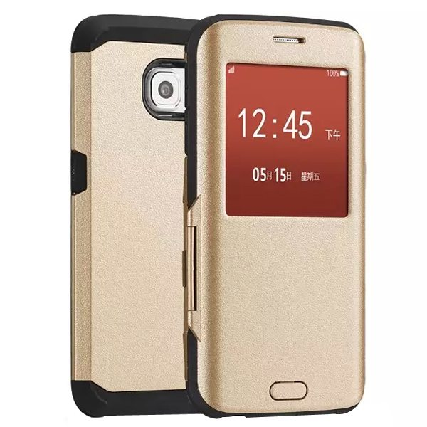 Luxury Design 2 In 1 Pattern Armor TPU and PC Hybrid Case for Samsung Galaxy S6 Edge with Caller ID Display Window (Gold)