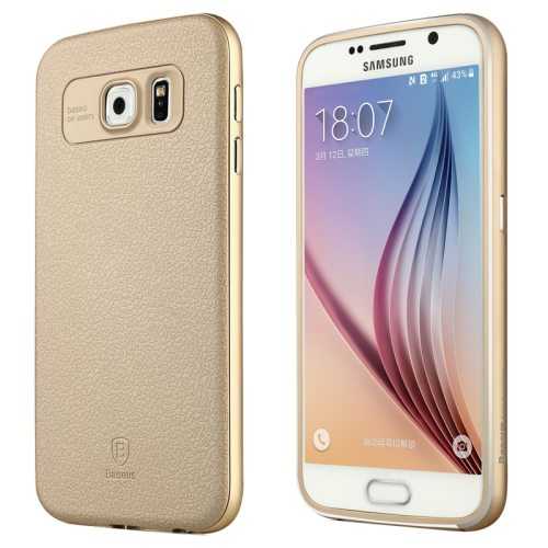Baseus Fusion Series Metal Frame and PC Back Shell Hybrid Case for Samsung Galaxy S6 (Gold)