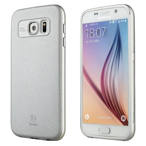 Baseus Fusion Series Metal Frame and PC Back Shell Hybrid Case for Samsung Galaxy S6 (Silver)