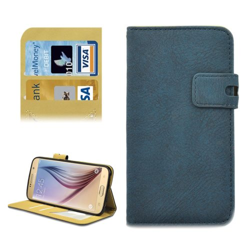Frosted Pattern Flip Leather Case for Samsung Galaxy S6 with Holder and Card Slots (Blue)