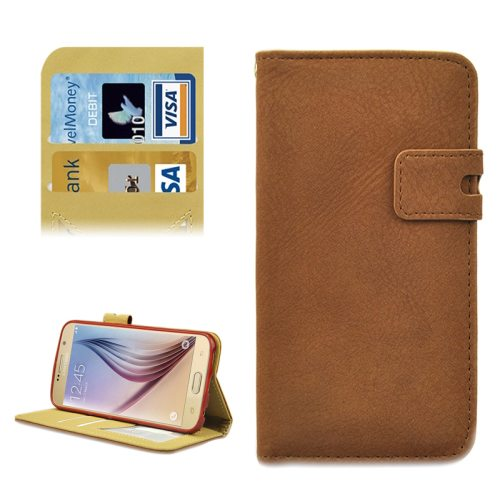 Frosted Pattern Flip Leather Case for Samsung Galaxy S6 with Holder and Card Slots (Brown)