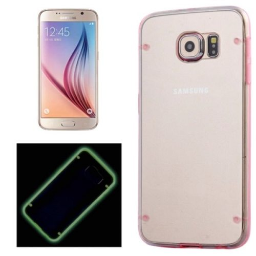 Nice Transparent Back Hard Plastic Case for Samsung Galaxy S6 with Luminous Frame (Pink)