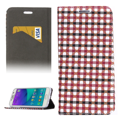Colorful Grid Pattern Flip Leather Case for Samsung Galaxy S6 with Holder and Card Slots (Red+Black)