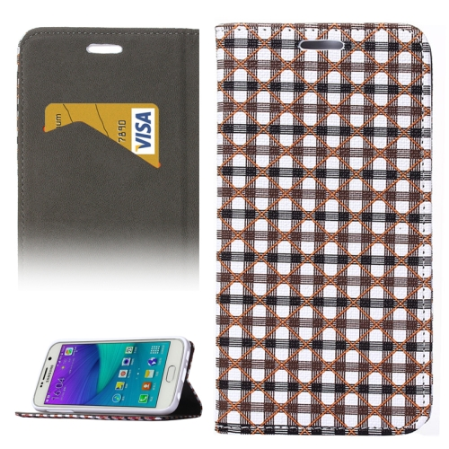 Colorful Grid Pattern Flip Leather Case for Samsung Galaxy S6 with Holder and Card Slots (Gray+Black)
