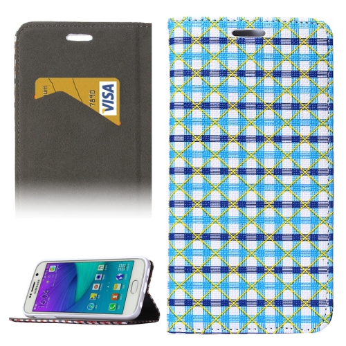 Colorful Grid Pattern Flip Leather Case for Samsung Galaxy S6 with Holder and Card Slots (Blue+Dark Blue)
