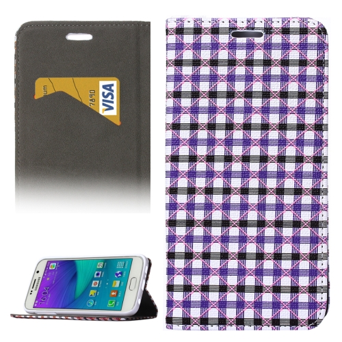 Colorful Grid Pattern Flip Leather Case for Samsung Galaxy S6 with Holder and Card Slots (Purple+Black)