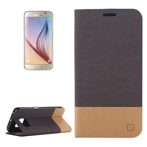 Canvas Leather Wallet Flip Stand Case for Samsung Galaxy S6 with Card Slot & Stand (Coffee)