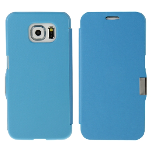 Wire Drawing Texture Horizontal Flip Magnetic Buckle Leather Case for Samsung Galaxy S6 (Blue)