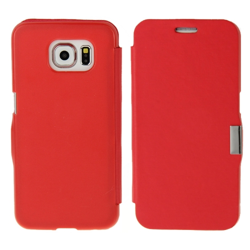 Wire Drawing Texture Horizontal Flip Magnetic Buckle Leather Case for Samsung Galaxy S6 (Red)