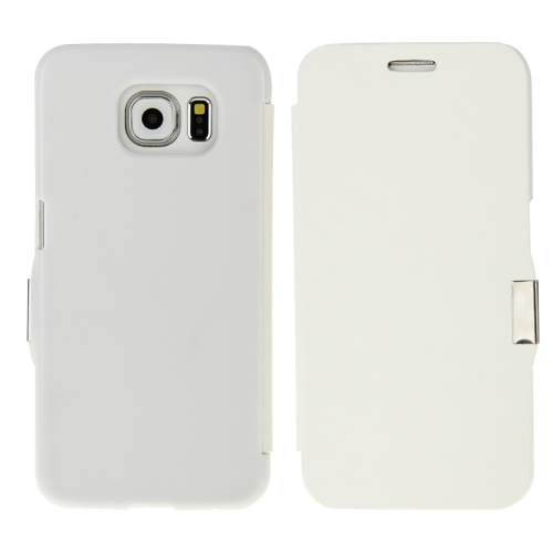 Wire Drawing Texture Horizontal Flip Magnetic Buckle Leather Case for Samsung Galaxy S6 (White)