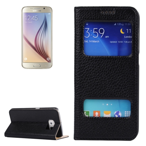 Litchi Texture Flip Genuine Leather Case for Samsung Galaxy S6 with Dual Window (Black)