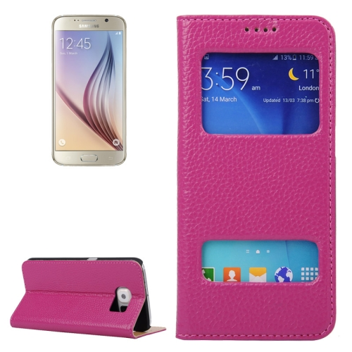 Litchi Texture Flip Genuine Leather Case for Samsung Galaxy S6 with Dual Window (Magenta)