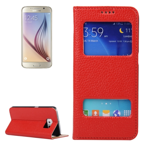 Litchi Texture Flip Genuine Leather Case for Samsung Galaxy S6 with Dual Window (Red)