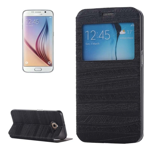 Caller ID Display Window PU Leather Flip and Aluminum Alloy Bumper Protective Cover for Samsung Galaxy S6 (Black)