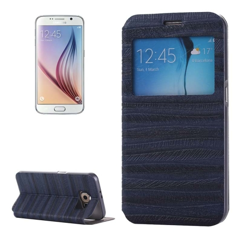 Caller ID Display Window PU Leather Flip and Aluminum Alloy Bumper Protective Cover for Samsung Galaxy S6 (Dark Blue)