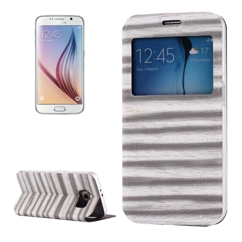 Caller ID Display Window PU Leather Flip and Aluminum Alloy Bumper Protective Cover for Samsung Galaxy S6 (White)