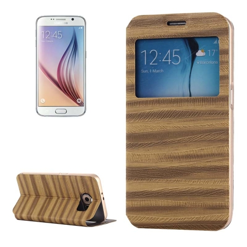 Caller ID Display Window PU Leather Flip and Aluminum Alloy Bumper Protective Cover for Samsung Galaxy S6 (Brown)