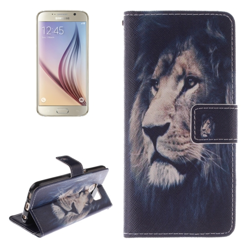 Lion Pattern Leather Case for Samsung Galaxy S6 with Holder & Card Slot