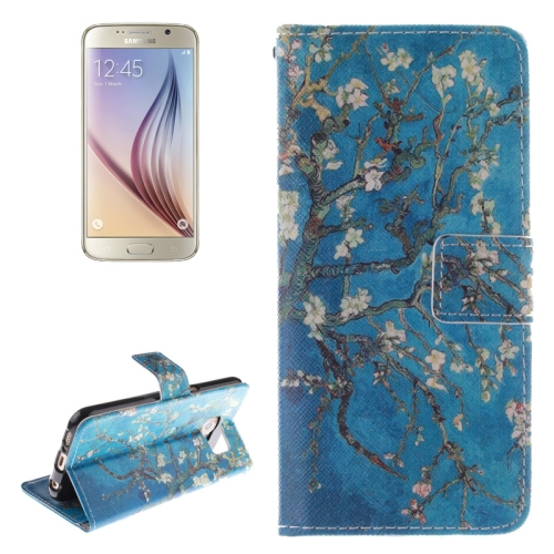 Plum Pattern Leather Case for Samsung Galaxy S6 with Holder & Card Slot