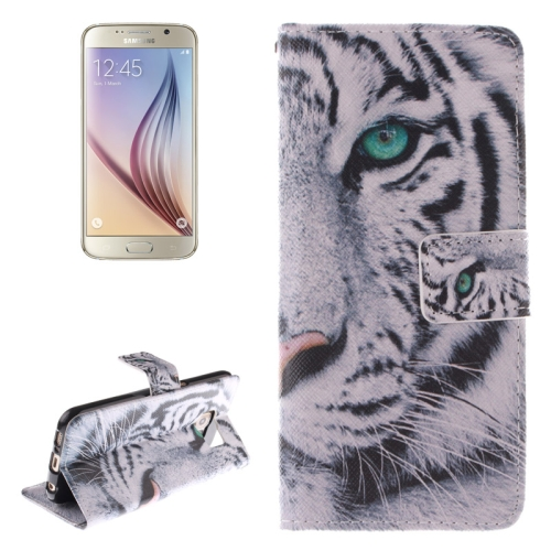 Tiger Pattern Leather Case for Samsung Galaxy S6 with Holder & Card Slot