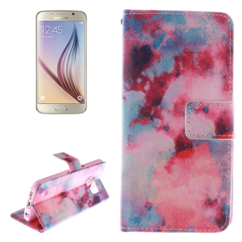 Watercolor Smudge Pattern Leather Case for Samsung Galaxy S6 with Holder & Card Slot