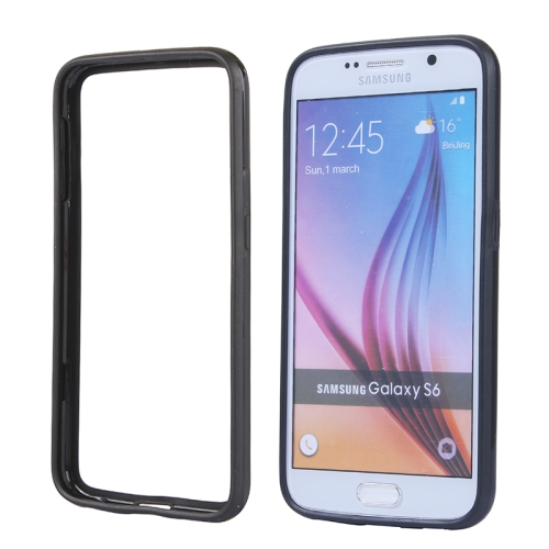 Colored Bumper Frame Soft Protective TPU Case for Samsung Galaxy S6 (Black)